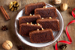 Chocolate Christmas cake Stock Image