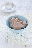 Chocolate Christmas cookies. In a plate Stock Images