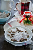 Chocolate Christmas cookies. In a plate Stock Photos