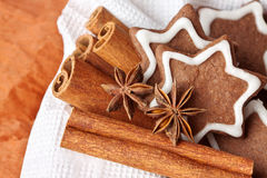 Chocolate Christmas cookies in the shape of stars Stock Photo