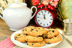 Chocolate Christmas Cookies on White Plate Stock Images
