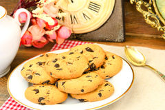 Chocolate Christmas Cookies on White Plate Royalty Free Stock Photo
