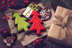 Chocolate christmas cookies Stock Photo