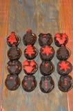 Chocolate Christmas cupcakes Stock Image