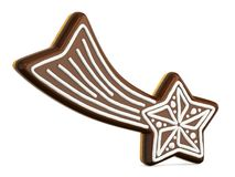 Chocolate Christmas gingerbread falling star decorated with white. Lines. 3D render illustration isolated on white background Stock Images