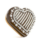 Chocolate Christmas gingerbread heart shape decorated with white Royalty Free Stock Photo