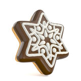 Chocolate Christmas gingerbread snowflake decorated with white l Stock Image