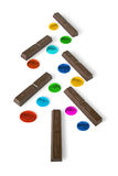 Chocolate Christmas Tree. With colorful decorations, isolated Royalty Free Stock Photo