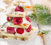 Chocolate christmas tree on a wooden table Royalty Free Stock Photos