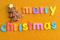 A chocolate Christmas tree with the words Merry Christmas Stock Photo