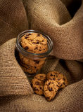 Chocolate chunk cookies in a jar. Food background, dessert and sweets Stock Photo