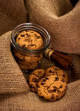 Chocolate chunk cookies in a jar. Sweet indulgence concept, retail concept royalty free stock photo