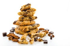 Chocolate chunk cookies with toasted pecans Stock Photography