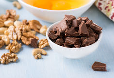 Chocolate chunks in a bowl. Food ingredients. Royalty Free Stock Photo