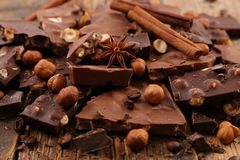 Chocolate chunks. Close up on chocolate chunks Stock Images