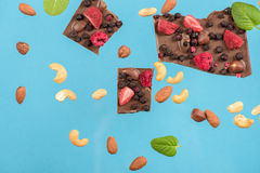 Chocolate chunks with strawberry, raspberry and hazelnuts Stock Image