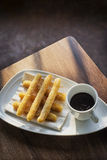 Chocolate and churros traditional spanish breakfast snack food Stock Images