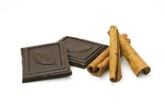 Chocolate and cinnamon Stock Images