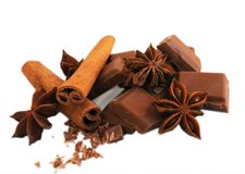 Chocolate with cinnamon and anise. Chocolate with connamon and anise isolated on white background Royalty Free Stock Image