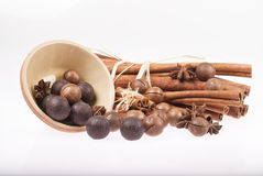 Chocolate balls in ceramic bowl with cinnamon and anise Stock Photos