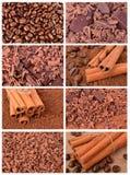 Chocolate, cinnamon and coffee. Coffee, cinnamon and chocolate closeup as background Stock Photos