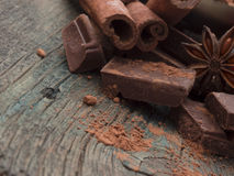 Chocolate with cinnamon Stock Photo