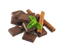 Chocolate, cinnamon with mint Stock Photography