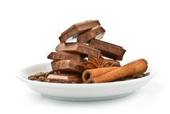 Chocolate, cinnamon, star anise and coffee Royalty Free Stock Photo