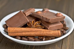 Chocolate, cinnamon, star anise and coffee Royalty Free Stock Images