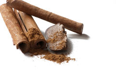 Chocolate and cinnamon stick. Sliced chocolate and cinnamon stick Royalty Free Stock Image