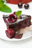 Chocolate Clafoutis with cherries Royalty Free Stock Image