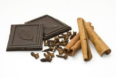 Chocolate, cloves and cinnamon Royalty Free Stock Image