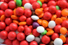 CHOCOLATE COATED CANDY stock photography