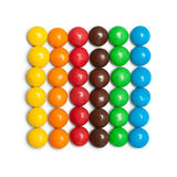 Chocolate coated candy. Strips of the colorful chocolate coated candy Royalty Free Stock Photo