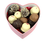 Chocolate coated cream puffs in a heart shape box. Danish cuisine Stock Images