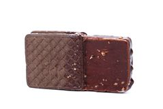 Chocolate-coated ice cream sandwich Royalty Free Stock Photos