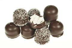 Chocolate coated marshmallow treats Stock Image