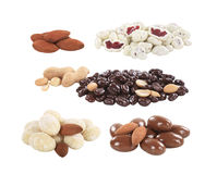 Chocolate coated nuts and fruit Royalty Free Stock Images