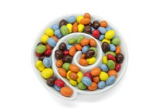 Chocolate coated peanuts Stock Image