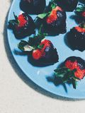 Chocolate Coated Strawberries stock photography
