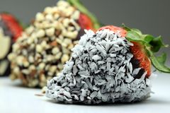 Chocolate coated strawberry with coconut Royalty Free Stock Photos
