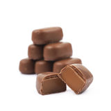 Chocolate coated toffee candy isolated Stock Photo