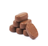 Chocolate coated toffee candy isolated Stock Photography