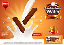 Chocolate coated wafer ads. Pouring milk vector background. Chocolate coated wafer ads. Pouring milk. 3d illustration and packaging Stock Photography