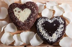 Chocolate cocido en la forma de la flor color de rosa del corazón y de la luz hermosa Foto de archivo