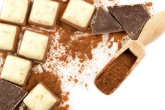 Chocolate and the cocoa Stock Images