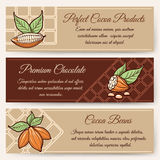 Chocolate and cocoa banner templates Stock Images