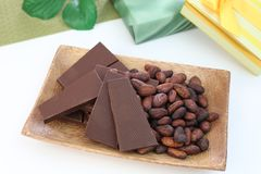 Chocolate and cocoa bean Royalty Free Stock Image