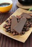 Chocolate and cocoa bean. I rode chocolate and cocoa bean on a plate Royalty Free Stock Photo