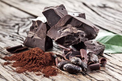 Chocolate and cocoa bean. Stock Photography